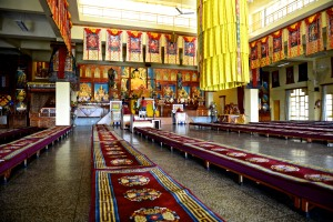 inside gompa at Karmapa