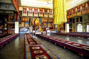 inside gompa at Karmapa