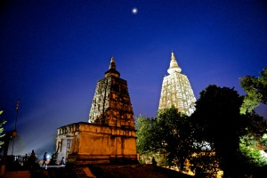 stupa at night