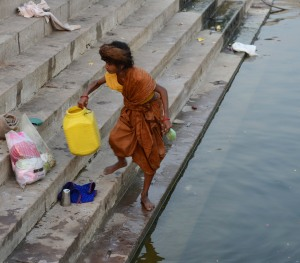 getting water from the Ganges