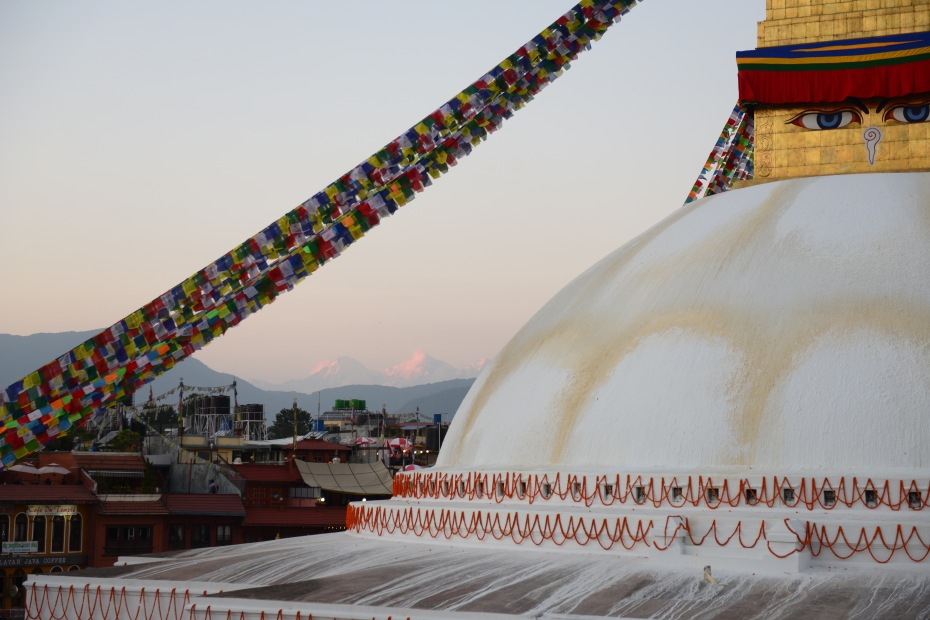Stupa with mountains